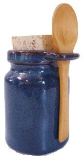 Ceramic Salt Jar   Neti Pot Accessory   Blue w/spoon