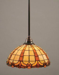 Toltec Lighting 26 BC 989 Stem Pendant Light Black Copper Finish with Butterscotch Tiffany Glass, 15 Inch   Ceiling Pendant Fixtures