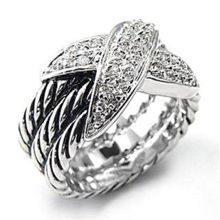 Women's Silver Cubic Zirconia Criss Cross Ring, Sizes 6 & 7, (Choose Your Size) (Size 7)  Beauty
