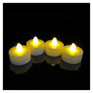 Set of 4 Battery Operated LED Flickering Tea Lights with Auto Timer