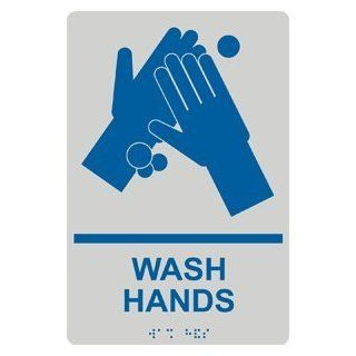 ADA Wash Hands With Symbol Braille Sign RRE 991 BLUonPRLGY Wash Hands  Business And Store Signs