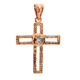 14kt Yellow Gold Diamond Pave Cross Pendant Vintage Style Jewelry Jewelry