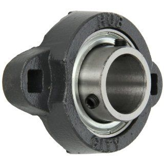 "Hub City FB110URX1 Flange Block Mounted Bearing, 2 Bolt, Light Duty, Non Relube, Setscrew Locking Collar, Narrow Inner Race, Ductile Housing, 1"" Bore, 1.2"" Length Through Bore, 2.992"" Mounting Hole Spacing"
