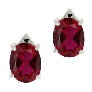 6.74 Ct Oval Red Created Ruby Black Diamond 18K White Gold Earrings Stud Earrings Jewelry