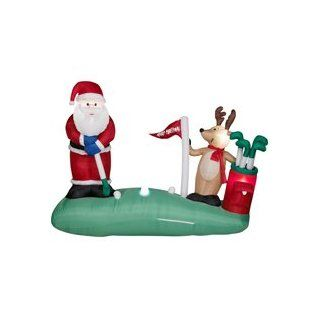 Over 7 Ft. Long   Animated Gemmy Christmas Airblown Inflatable   Golfing Santa with Reindeer   Street Signs