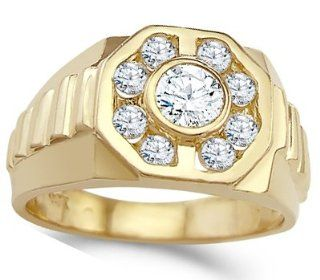 Men's CZ Ring 14k Yellow Gold Fashion Pinky Band Cubic Zirconia 1.25ct Jewel Tie Jewelry