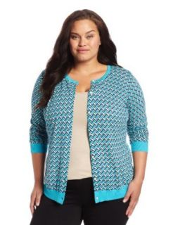 Jones New York Women's Plus Size Long Sleeve Crew Neck Cardigan Sweater with Tippin, Turquoise, 0X