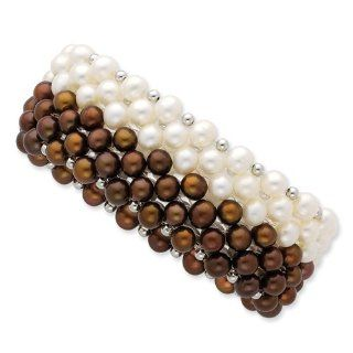 Sterling Silver White/chocolate 6 7mm Fw Cult. Potato Pearl Stretch Bracele, Best Quality Free Gift Box Satisfaction Guaranteed Jewelry Organizers Jewelry