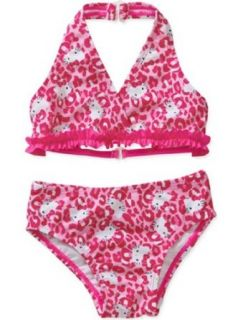Hello Kitty Baby Girls' 2 Piece Halter Swimsuit   Animal Print Fashion Bikini Sets Clothing
