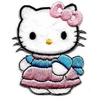 Hello Kitty wearing pink dress with blue ribbon sash Embroidered Iron On / Sew On Patch   Sanrio