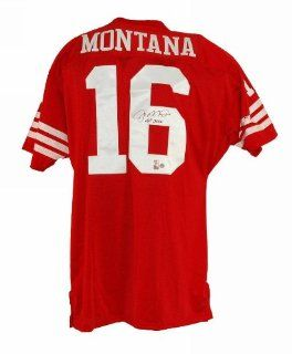 Autographed Joe Montana San Francisco 49ers Red Throwback Jersey Inscribed HOF 2000 at 's Sports Collectibles Store