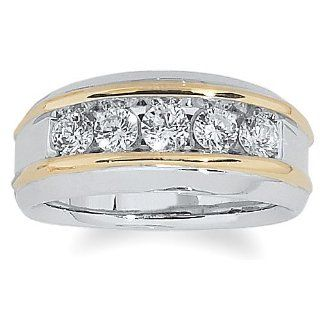 Men's 14k Two Tone Gold Polished Finish Diamond Ring (1.00 cttw, H I Color, I1 I2 Clarity) Jewelry