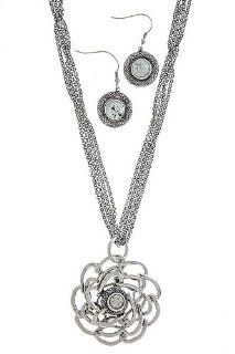 Trendy Jewelry   METAL FLOWER PENDANT NECKLACE   By Fashion Destination   (Antique Silver) Fashion Destination Jewelry