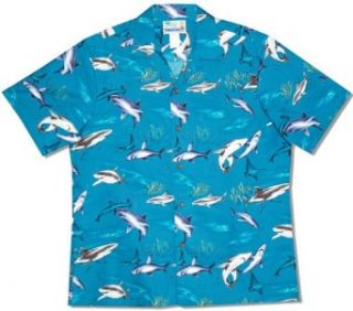 Sharks Men's Hawaiian Aloha Cotton Shirt at  Men�s Clothing store Button Down Shirts