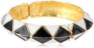 "Kenneth Jay Lane White Sides and Black Top Enamel Bangle Bracelet, 9"" Jewelry"