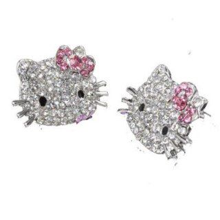 Hello Kitty Crystal and Rhinestone Stud Earrings w/ Pink Flower Bow Jewelry