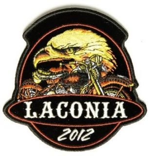 "Embroidered Iron On Patch   Laconia 2012 Eagle & Motorcycle 4"" x 4"" Patch Clothing"