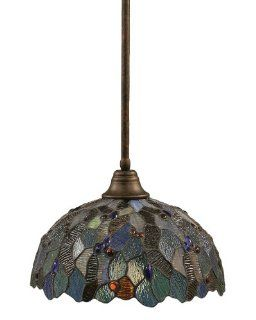 Toltec Lighting 26 BRZ 995 Stem Pendant Light Bronze Finish with Blue Mosaic Tiffany Glass, 16 Inch   Ceiling Pendant Fixtures