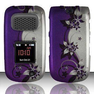 Purple Silver Flower Hard Cover Case for Samsung Rugby III 3 SGH A997 Cell Phones & Accessories