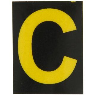 "Brady 5890 C Bradylite 1 7/8"" Height, 1 3/8 Width, B 997 Engineering Grade Bradylite Reflective Sheeting, Yellow On Black Reflective Letter, Legend ""C"" (Pack Of 25) Industrial Warning Signs"