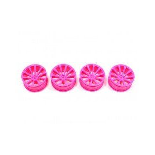 Boom Racing #BRTR 2086PK 10 Spoke Wheel Set (4Pcs) For 1/10 RC Car 26mm Pink for Kyosho FW 05R Toys & Games