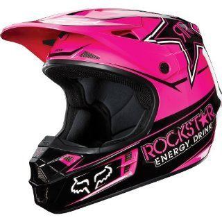 Rockstar Energy Drink Officially Licensed Fox Men's V1 MX/Off Road/Dirt Bike Motorcycle Helmet   Black/Pink / X Large Automotive