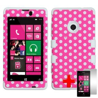 Nokia Lumia 521 (T Mobile) 2 Piece Silicon Soft Skin Hard Plastic Image Case Cover, White Polka Dot Design Pink Cover + LCD Clear Screen Saver Protector Cell Phones & Accessories