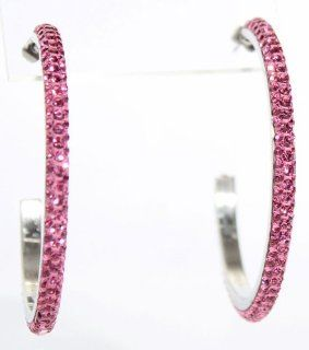 "2.2"" Hoop Earrings with Beautiful Sparkly High Quality Crystals   Crystal Pink Jewelry"