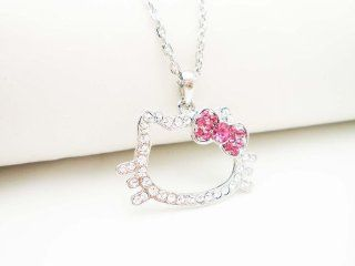 SILVER CRYSTAL HELLO KITTY OUTLINE PINK BOW NECKLACE