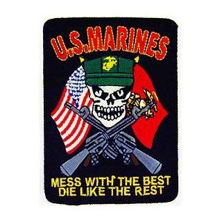 "USMC Marine Corps Military Embroidered Iron On Patch   Skull Face w/ Cross Guns ""Mess With The Rest, Die Like The Rest"" Applique Novelty Baseball Caps Clothing"