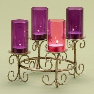Tea Light Candle Hot Pink & Purple Glass Chimney Christmas Advent Candle Holder