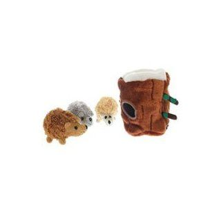 Multipet Tree Stump Plush Hideaway Puzzle Dog Toy with Plush Hedgehog Squeak Toys  Pet Toys