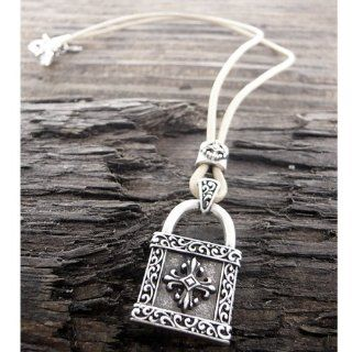 Stigma Silver Stainless Steel Women or Mens Cross Necklace. Mens Stainless Steel Light Brown Leather Chain Necklace   Lock Pendant. Size 24 Inch Long. Jewelry