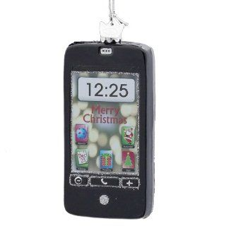 Kurt Adler 4 Inch Noble Gems Glass Black Smartphone Ornament   Decorative Hanging Ornaments