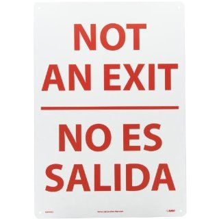 "NMC M695RC Bilingual Exit/Entrance Sign, Legend ""NOT AN EXIT"", 14"" Length x 20"" Height, Rigid Polystyrene Plastic, Red on White Industrial Warning Signs"
