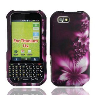 Motorola I1X / Titanium Graphic Rubberized Protective Hard Case   Feather Flower Cell Phones & Accessories