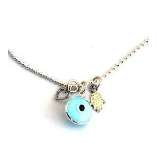 Light Blue Evil Eye Sterling Silver Necklace with Hamsa & Heart Charms Jewelry