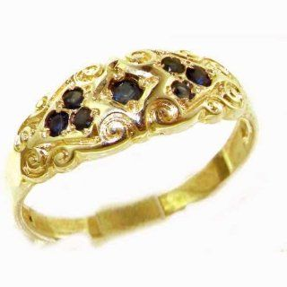 High Quality Solid Yellow 9K Gold Ladies Natural Sapphire Vintage Style Carved Band Ring   Finger Sizes 5 to 12 Available Jewelry