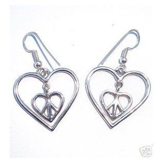 Solid 925 St Sterling Silver Cut Out Inner Peace And Love Sign Heart Dangle Wire Back Hook Earrings Jewelry� 1 1/2 x1 Inches Jewelry