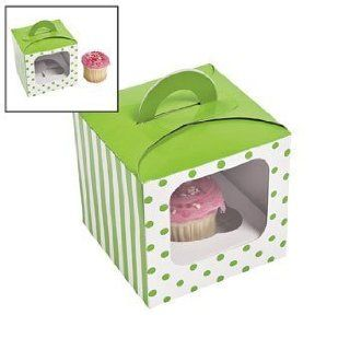 Lime Green Polka Dot Cupcake Boxes With Handle   Party Favors & Party Bags & Containers  Other Products
