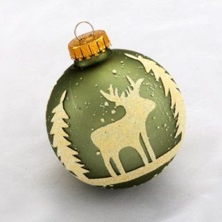 "4ct Sage Green Woodland Silhouette Glass Christmas Ball Ornaments 2.75"" (65mm)   Kurt Adler Glass Ornaments"
