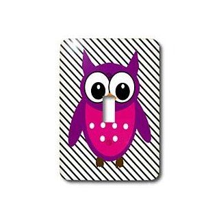 3dRose lsp_109900_1 Trendy Red Violet N Pink Owl On Black N White Stripes Single Toggle Switch   Switch Plates