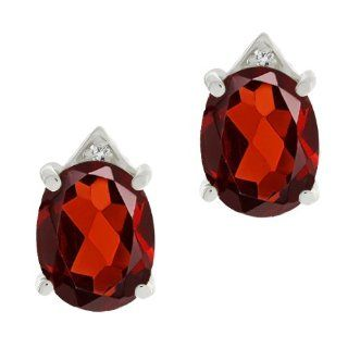 5.71 Ct Oval Red Garnet and White Topaz Sterling Silver Earrings Jewelry