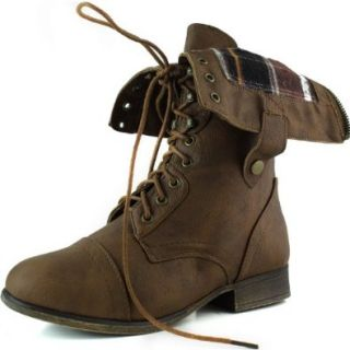 Top Moda Women's SMART 1 Fold Down Military Lace Up Combat Boots Shoes