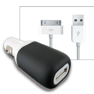 White/Black USB Car Charger w/ USB cable for iPhone 4S 4 3GS also can be charge w/Otterbox Case on Cell Phones & Accessories