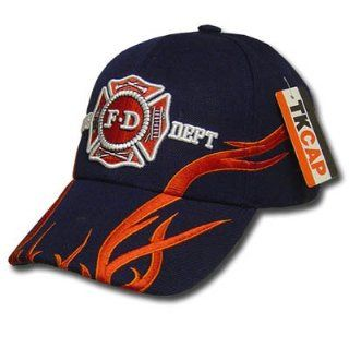 BLACK FIRE FIGHTER DEPT FLAME SHIELD BASEBALL CAP ADJ Sports & Outdoors