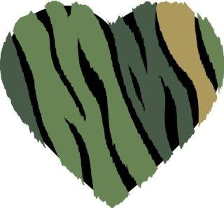 "2"" Helmet Camo animal striped heart printed vinyl decal sticker for any smooth surface such as windows bumpers laptops or any smooth surface."