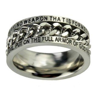 "Christian Mens Stainless Steel 10mm Abstinence ""No Weapon that is Formed Against You Shall Prosper"" Isaiah 54 17 ""Put On The Full Armor of God That You May Be Able to Stand Firm Against the Schemes of the Devil"" Ephesians 611 Chain Sp"