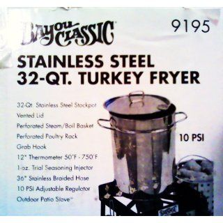 Bayou Classic 9195 32 Quart Stainless Steel Outdoor Turkey Fryer Kit with Burner (Discontinued by Manufacturer)  Outdoor Fry Pots  Patio, Lawn & Garden