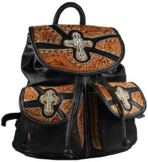 "Western Style Drawstring Backpack 15"" Tooled Faux Leather with Rhinestone Crosses and Studs Large Purse  Available in 4 Colors (Black with Brown) Clothing"